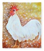 Leghorn Rooster Do The Funky Chicken Fleece Blanket