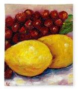 Lemon And Grapes Still Life Grace Venditti Montreal Art Fleece Blanket