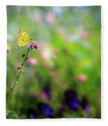 Lemon Butterfly In Summer Meadow  Fleece Blanket