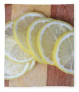 Lemon Slices On Cutting Board Fleece Blanket