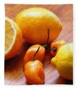 Lemons And Peppers Fleece Blanket