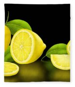 Lemons-black Fleece Blanket