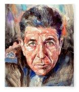 Leonard Cohen Painting Fleece Blanket