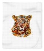 Leopard Head Watercolor Fleece Blanket