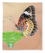 Leopard Lacewing Butterfly #2 V2 Fleece Blanket