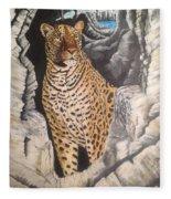 Leopard On The Rocks Fleece Blanket