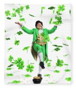 Leprechaun Tossing Shamrock Leaves Up In The Air Fleece Blanket by Maxim Images Prints