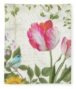 Les Magnifiques Fleurs IIi - Magnificent Garden Flowers Parrot Tulips N Indigo Bunting Songbird Fleece Blanket