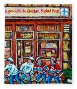 Les Scenes De Pointe St Charles Les Produits Smoked Meat Avec Partie De Hockey Fleece Blanket