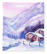 Swiss Mountain Cabins In Snow Fleece Blanket