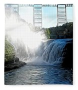 Letchworth State Park Upper Falls And Railroad Trestle Abstract Fleece Blanket