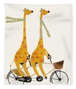 Lets Tandem Giraffes Fleece Blanket