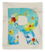 Letter R Roman Alphabet - A Floral Expression, Typography Art Fleece Blanket