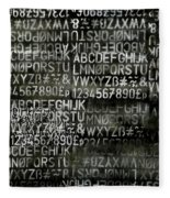 Letters And Numbers Grey On Black Fleece Blanket