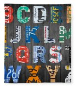Letters Of The Alphabet Recycled Vintage License Plate Art With Apple Colorful School Nursery Kids Room Print Fleece Blanket