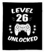 Level 26 Unlocked Video Gamer Birthday Gift Fleece Blanket