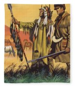 Lewis And Clark Expedition Scene Fleece Blanket
