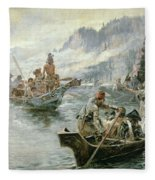 Lewis And Clark On The Lower Columbia River Fleece Blanket