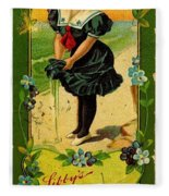 Libbys Bookmark Vintage With Girl On Beach Fleece Blanket