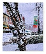 Liberty Square In Winter Fleece Blanket