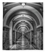 Library Of Congress Building Hallway Bw Fleece Blanket