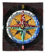 License Plate Compass North South East West Road Trip Letters On Old Red Barn Wood Fleece Blanket