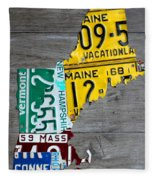 License Plate Map Of New England States Fleece Blanket