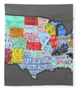 License Plate Map Of The United States Edition 2016 On Steel Background Fleece Blanket