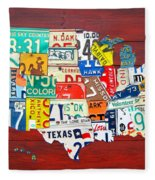 License Plate Map Of The United States - Midsize Fleece Blanket