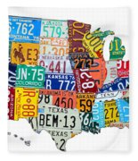 License Plate Map Of The United States Outlined Fleece Blanket