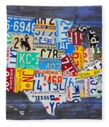 License Plate Map Of The Usa On Blue Wood Boards Fleece Blanket