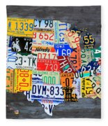 License Plate Map Of The Usa On Gray Distressed Wood Boards Fleece Blanket