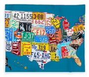 License Plate Map Of The Usa On Royal Blue Fleece Blanket