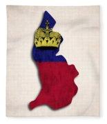 Liechtenstein Map Art With Flag Design Fleece Blanket