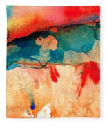 Life Eternal Red And Green Abstract Fleece Blanket