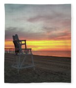Lifeguard Stand On The Beach At Sunrise Fleece Blanket
