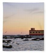 Lifesavers Building And Birds In Fuzeta. Portugal Fleece Blanket