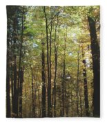 Light Among The Trees Vertical Fleece Blanket