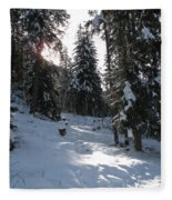Light And Shadow On A Snowy Landscape Fleece Blanket