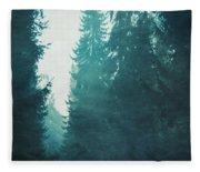 Light Coming Through Fir Trees In Mist Fleece Blanket