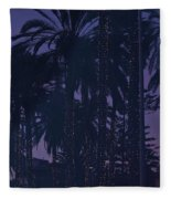 Light Decorated Palm Trees On Paseo Maritimo Fleece Blanket