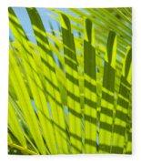 Light Green Palm Leaves Fleece Blanket