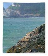 Light House And Sea Lions Fleece Blanket