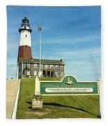 Light House At Montauk Point Fleece Blanket
