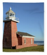 Light House At Santa Cruz Fleece Blanket