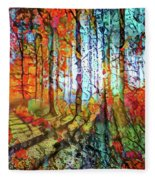 Light In The Woods Fleece Blanket