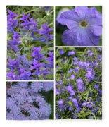 Light Purple Flowers Collage Fleece Blanket