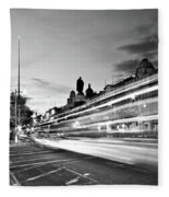Light Trails On O'connell Street At Night - Dublin Fleece Blanket