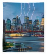 Lightening Striking Manhattan Fleece Blanket