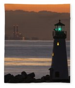 Lighthouse And Power Plant At Dawn Fleece Blanket